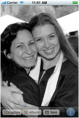 iPhone B&W camera app mother and daughter photo