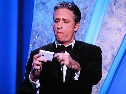 Jon Stewart with iPhone